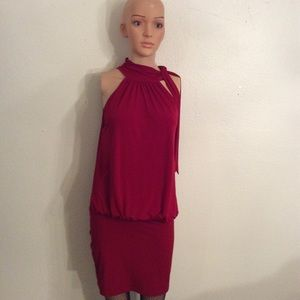 Express Red Halter-tie Knit Stretch  Mini Dress